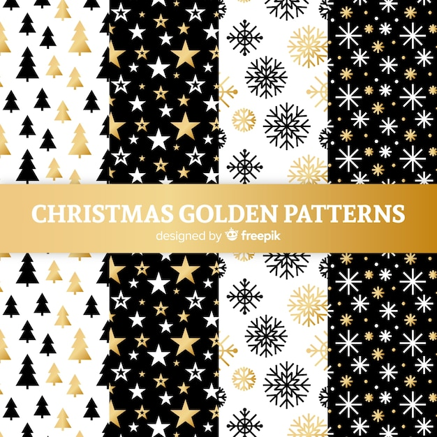 Christmas golden pattern collection Free Vector