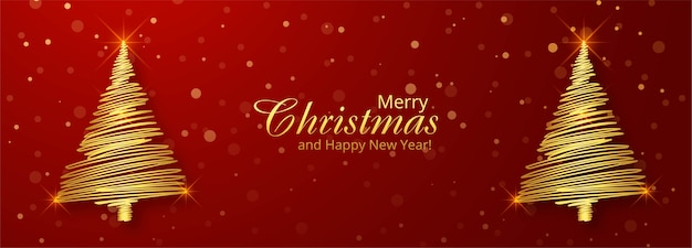 クリスマスゴールデンツリーホリデーカードバナーの背景 無料ベクター