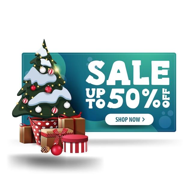 クリスマスグリーン割引バナー、白いボタンとギフトとポットのクリスマスツリー Premiumベクター
