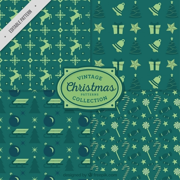 Christmas green vintage patterns Free Vector