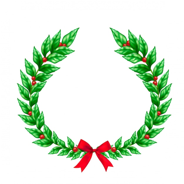 Christmas green wreath decorated with red ribbon bow and berries realistic sign Free Vector