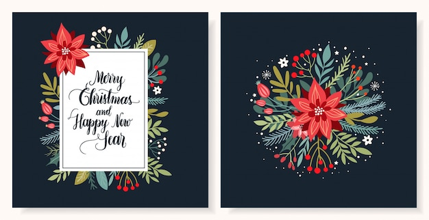 Christmas greeting card collection with seasonal  and hand lettering Premium Vector