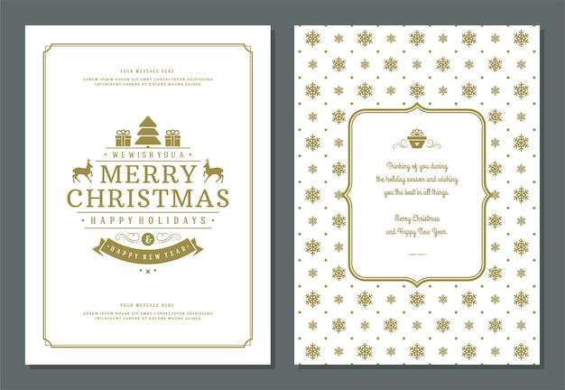 装飾ラベル付きのクリスマスグリーティングカードデザインテンプレート Premiumベクター