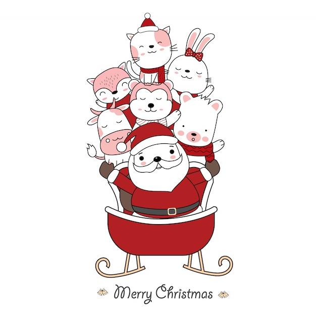 サンタクロースとサンタの車でかわいい赤ちゃん動物のクリスマスのグリーティングカードのデザイン。手描き漫画のスタイル。ベクトルイラスト。 Premiumベクター