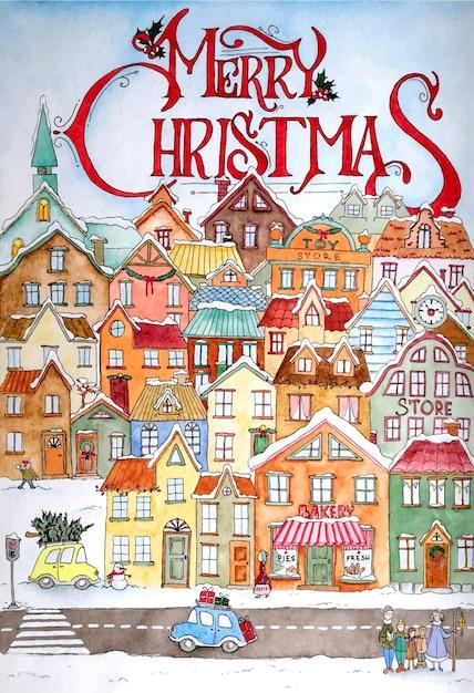 クリスマスのグリーティングカードのデザイン Premiumベクター