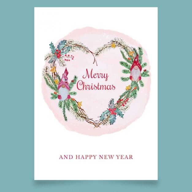 Рождественская открытка в виде сердца со скандинавскими эльфами Premium векторы