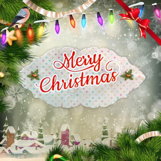 クリスマスのグリーティングカードの光と雪の結晶の背景。メリークリスマスの休日はデザインとビンテージ飾り装飾を望みます。新年あけましておめでとうございますメッセージ。 Premiumベクター