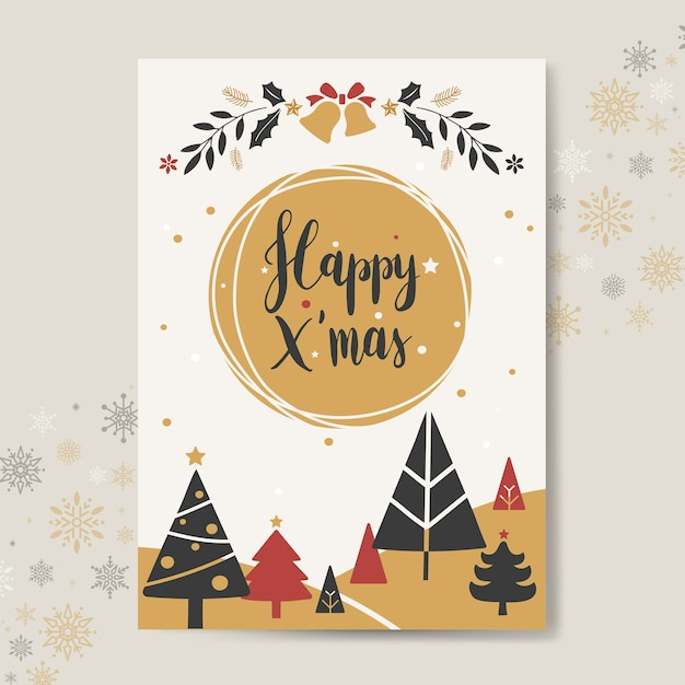 Christmas greeting card mockup vector Free Vector