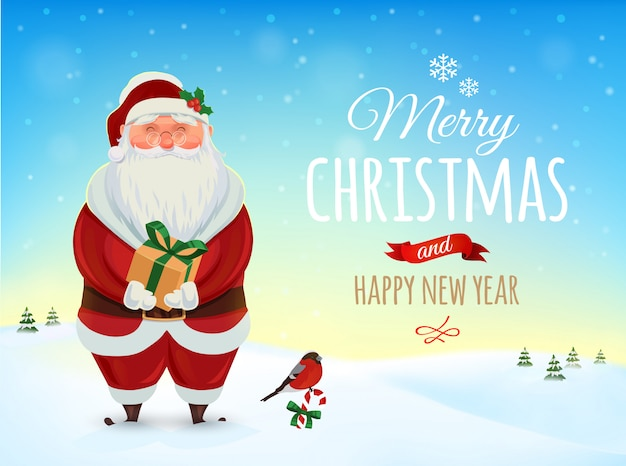 Christmas greeting card, poster. funny santa. winter landscape.    . merry christmas and happy new year Premium Vector