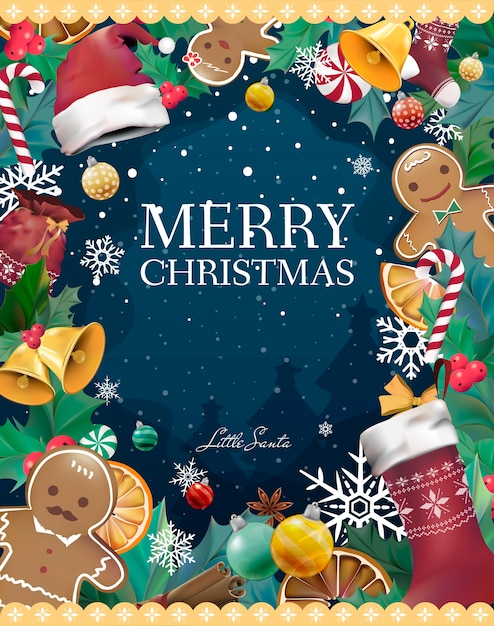 Christmas greeting card vector Free Vector