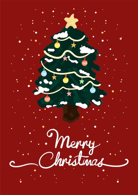 Christmas greeting card vector Free Vector