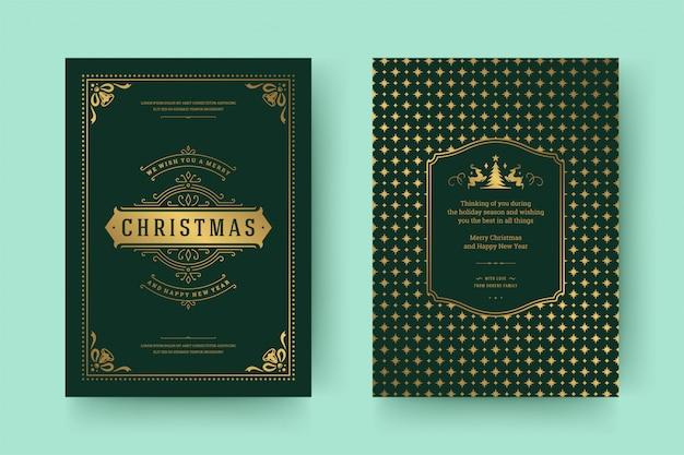 Christmas greeting card vintage typographic ornate decoration symbols with winter holidays wish Premium Vector