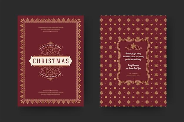 クリスマスグリーティングカードヴィンテージ活版印刷、冬の休日の願い、装飾品やフレームと華やかな装飾のシンボル。 Premiumベクター