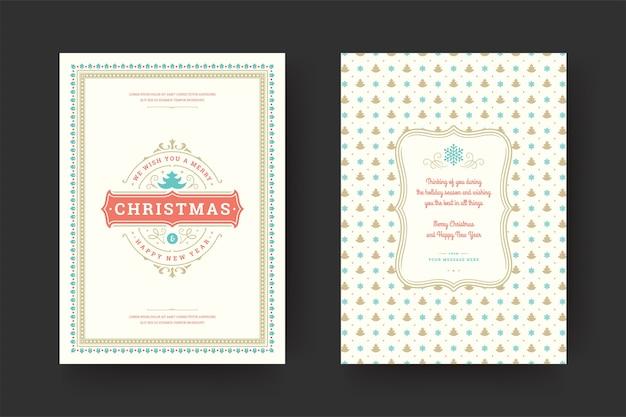 겨울 휴가 소원, 장식품 및 프레임 크리스마스 인사말 카드 빈티지 인쇄상의, 화려한 장식 기호. 프리미엄 벡터