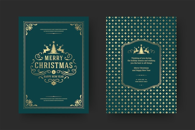 Christmas greeting card vintage typographic , ornate decorations symbols with winter holidays wish, ornaments and frame. Premium Vector