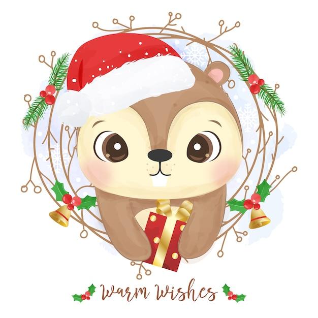 귀여운 다람쥐와 크리스마스 인사말 카드 프리미엄 벡터