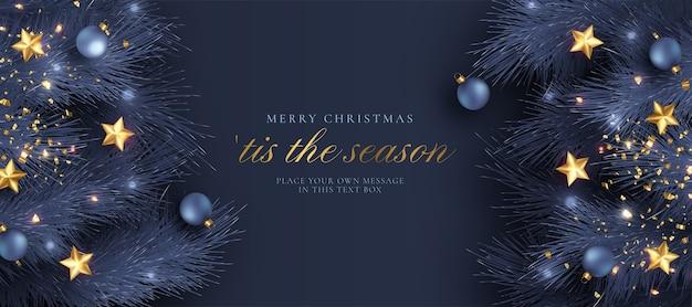 파란색과 황금 현실적인 장식으로 크리스마스 인사말 카드 무료 벡터