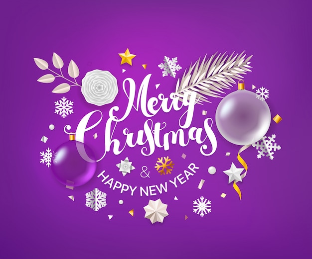Christmas greeting card with calligraphic logo. Premium Vector