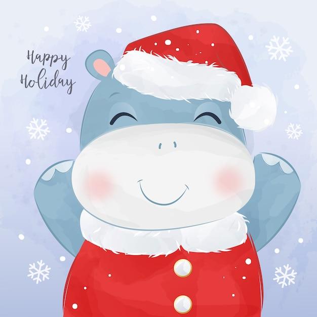 쾌활 한 아기 마와 크리스마스 인사말 카드입니다. 크리스마스 배경 그림입니다. 프리미엄 벡터