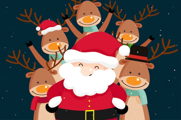 Christmas greeting card with christmas santa claus and reindeer. vector illustration Premium Vector