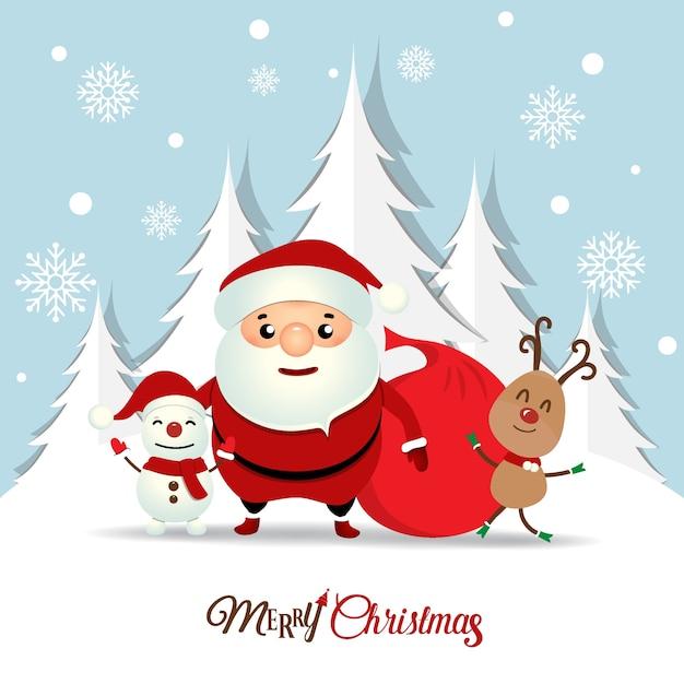 Christmas greeting card with christmas santa claus snowman and christmas greeting card with christmas santa claus snowman and reindeer vector illustration free vector m4hsunfo