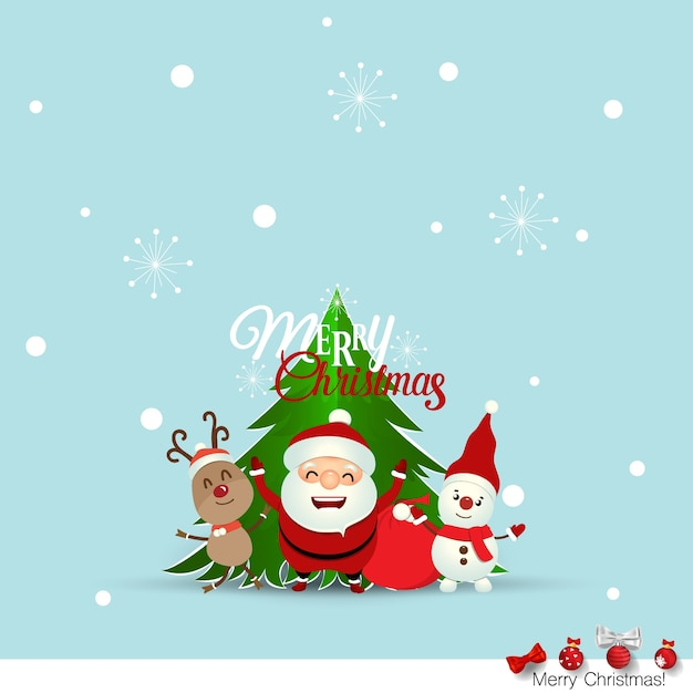 Christmas Greeting Card With Christmas Santa Claus ,Snowman And Reindeer.  Vector Illustration Free Vector