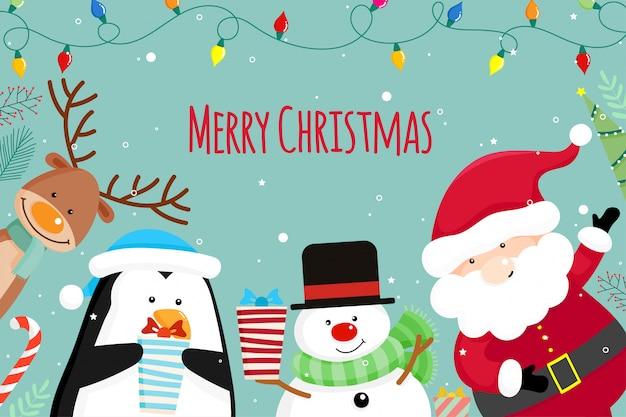 Рождественская открытка с рождеством санта-клауса, снеговика и оленей. векторная иллюстрация Premium векторы