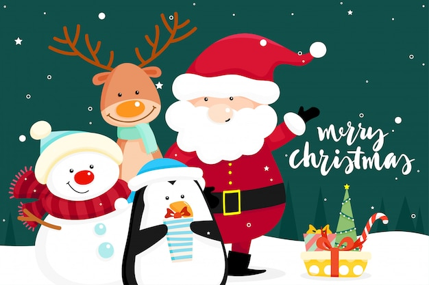 Christmas greeting card with christmas santa claus ,snowman and reindeer. vector illustration Premium Vector