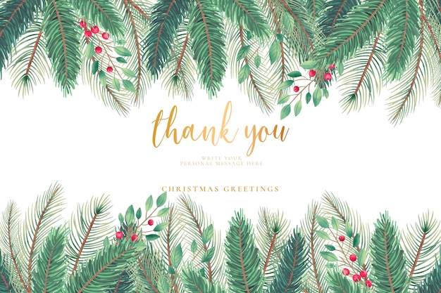 Christmas greeting card with christmas tree leaves Free Vector