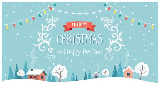 Рождественская открытка с милой пейзаж, текст и подвесные украшения. Premium векторы
