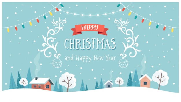 Christmas greeting card with cute landscape, text and hanging decorations. Premium Vector