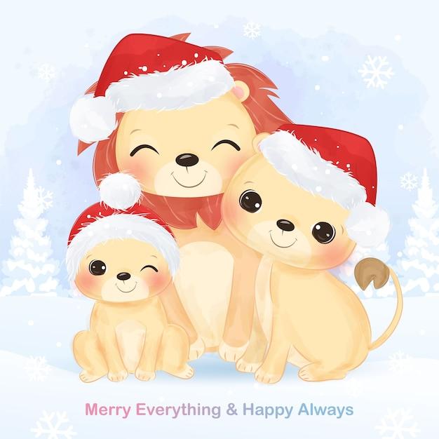 귀여운 사자 가족과 함께 크리스마스 인사말 카드입니다. 크리스마스 배경 그림입니다. 프리미엄 벡터