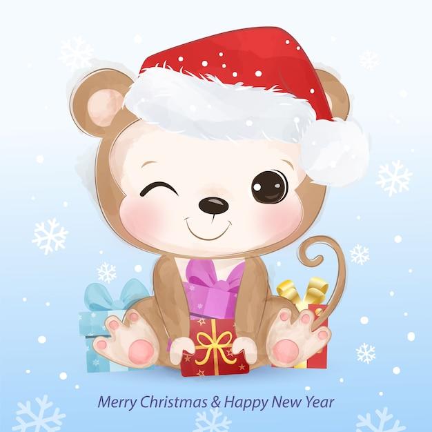 귀여운 작은 원숭이와 크리스마스 인사말 카드입니다. 크리스마스 배경 그림입니다. 프리미엄 벡터