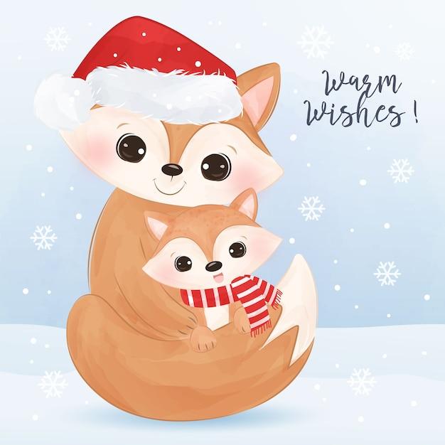 귀여운 엄마와 아기 여우와 크리스마스 인사말 카드. 크리스마스 배경 그림입니다. 프리미엄 벡터