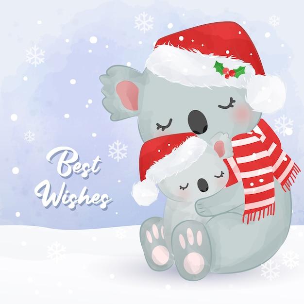 귀여운 엄마와 아기 코알라와 함께 크리스마스 인사말 카드. 크리스마스 배경 그림입니다. 프리미엄 벡터