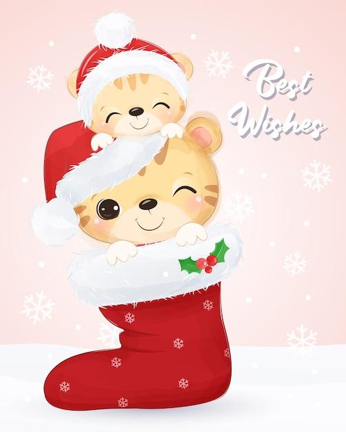 귀여운 엄마와 아기 호랑이와 크리스마스 인사말 카드. 크리스마스 배경 그림입니다. 프리미엄 벡터