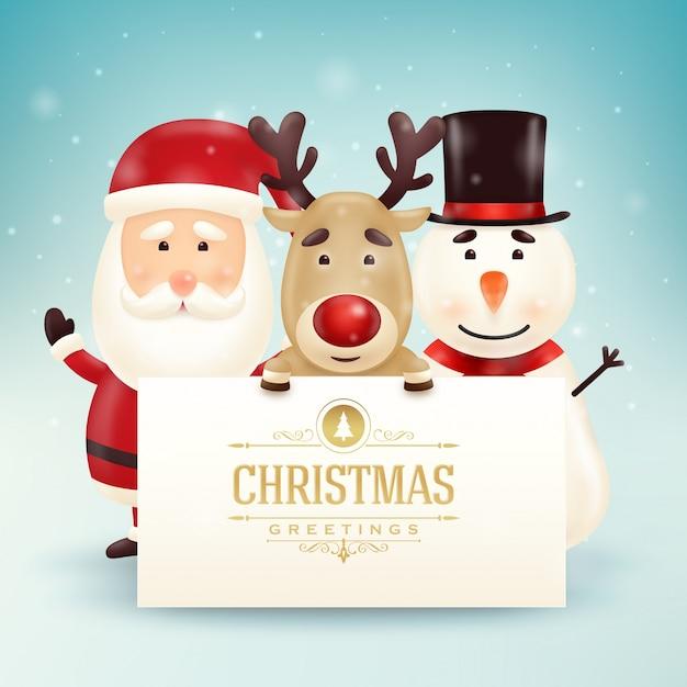 christmas greeting card with cute santa snowman and reindeer characters premium vector - Santa Snowman