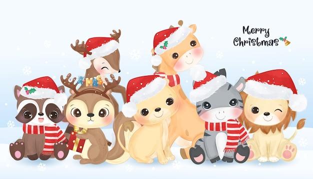 귀여운 야생 동물과 함께 크리스마스 인사말 카드 프리미엄 벡터