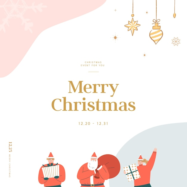 Christmas greeting card with emotional feeling illustration Premium Vector