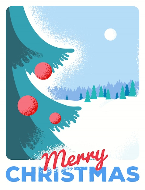 Christmas greeting card with fir, retro styled with scratched paper Premium Vector