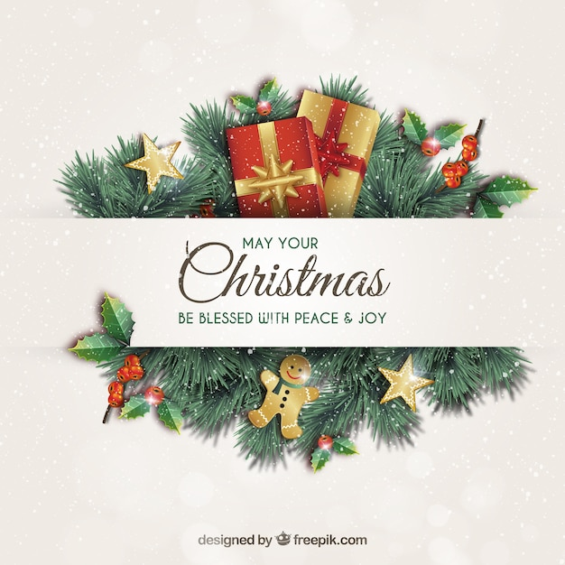 Christmas greeting card with garlands Premium Vector