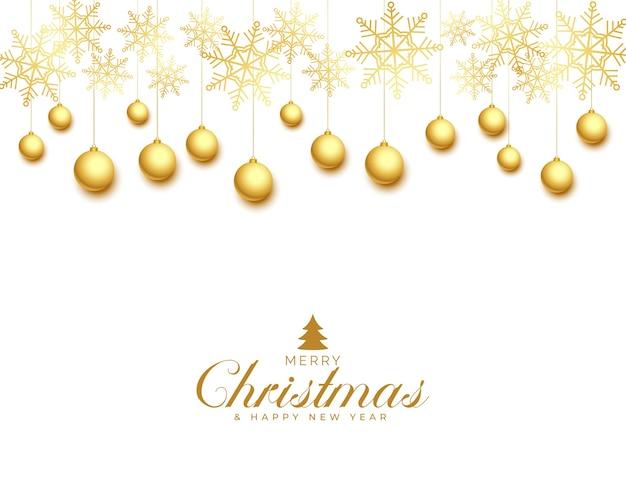 Biglietto di auguri di natale con palline dorate e fiocchi di neve Vettore gratuito