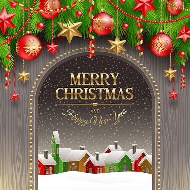 Рождественская открытка с праздничным оформлением, шарами и зимним городком. Premium векторы