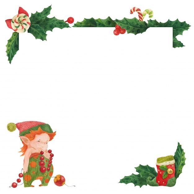 Рождественская открытка с холли и эльфом новогодний декоратор Premium векторы