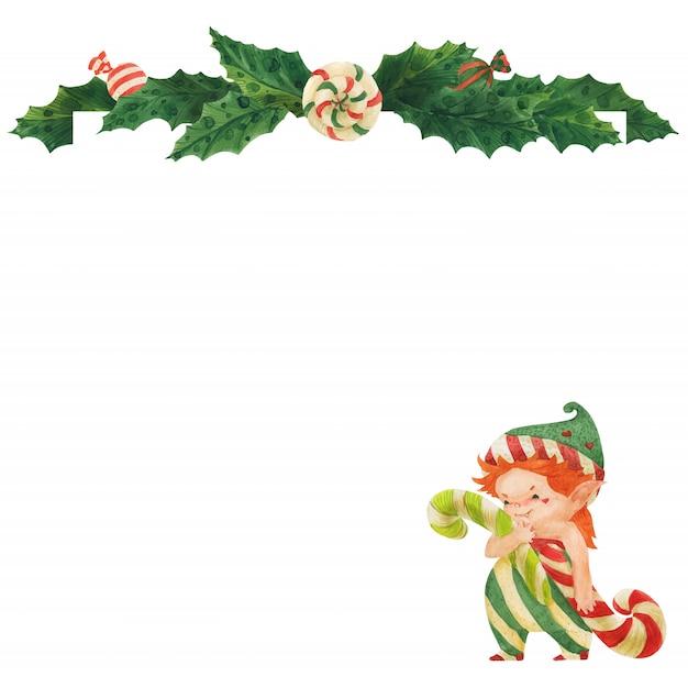 Рождественская открытка с холли и эльфом с леденцами Premium векторы