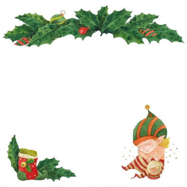 Рождественская открытка с холли и эльфом с хрустальным шаром Premium векторы