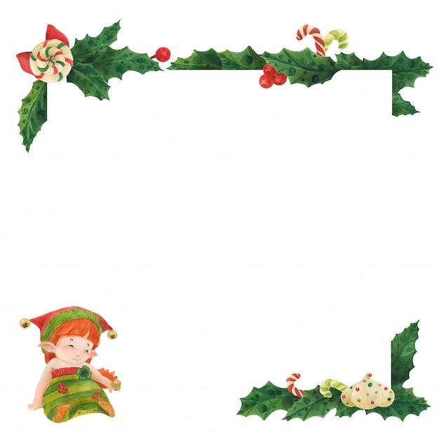 Рождественская открытка с холли и принцессой эльф с кольцом зефира Premium векторы