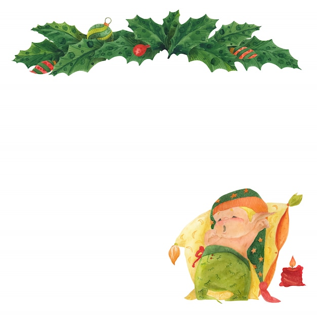 Рождественская открытка с холли и спящим эльфом Premium векторы
