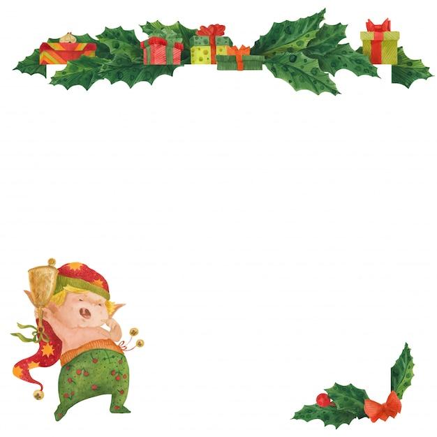 Рождественская открытка с холли и пробуждением эльфа Premium векторы