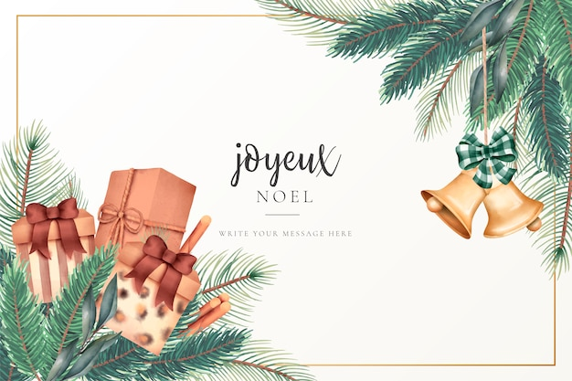 Christmas greeting card with presents and ornaments Free Vector